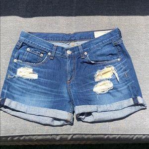 Rag & Bone jean distressed denim shorts sz 26